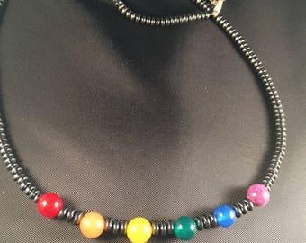 Hematite and rainbow stone necklace 021