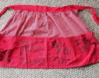Vintage apron, Merry Christmas,  Happy New Year red cotton
