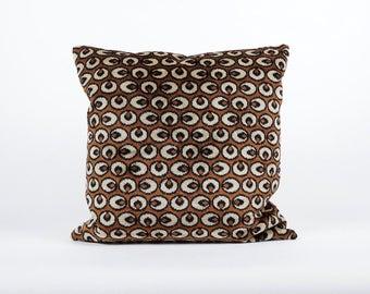 Brown Velvet Pillow, 20x20 cushion cover, velvet throw pillow, vintage upholstery fabric, designer pillow, handmade home decor by EllaOsix