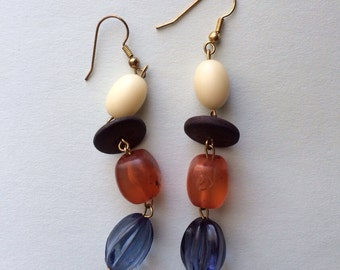 Vintage Dangle Earrings In Rust And Blue