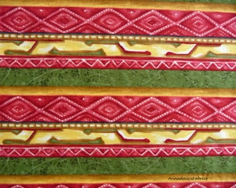 Southwestern Aztec Stripe Fabric, Lone Prairie 1529 Troy Corp, Riverwoods, Aztec Fabric, Tribal Southwest Quilt Fabric, Cotton