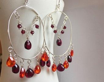 Boho Garnet and padparadscha  orange zirconia hoop chandelier earrings, style - Temptress