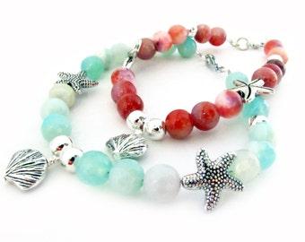Coral Starfish Bracelet, Beach Bracelet, Beach Charm Bracelet, Agate Shell Bracelet, Coral Bracelet, Aqua Bracelet, Gift for Her