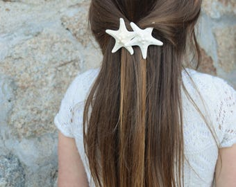 Pearl Topped Knobby Duo Barrette, Starfish Hair Clip, Mermaid Accessory, Beach Weddings Fresh Water Pearl