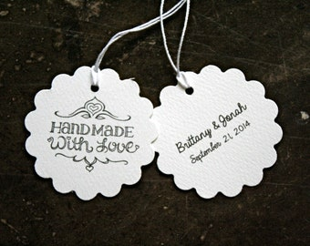 Personalized wedding favor tags, gift tags, set of 20, Hand Made With Love, custom names and date, gift tag, handmade gift tag, hang tag
