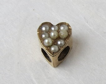 Victorian 10k heart of seed pearl antique fob chain or charm slide.