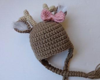 Newborn Crochet Deer Hat Photo prop Baby boy girl