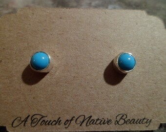 Navajo sterling silver Sleeping Beauty turquoise stud earrings Native American Southwestern. 5mm stones. Made to order