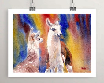 Baby Llama Print, Watercolor farm animal art, Printed nursery wall decor for Boys Girls Room, Zehland Artwork by Janet Zeh