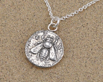 Ephesus Bee Coin Pendant Necklace - Sterling SIlver