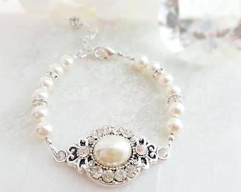 Pearl Crystal Bracelet Wedding - Pearl Bridal Bracelet - Swarovski Crystal Bracelet - White Pearl Bracelet - Pearl Silver Jewelry - B2009