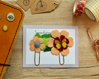 2 Flower Felt Paper Clips | Feltie | Planner Clip | Organizer | Bookmark