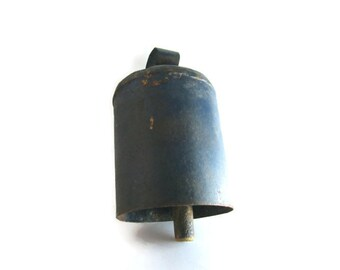 Vintage Cow Bell Blue Painted Forged Metal 1920s