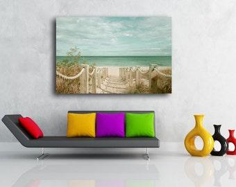 Sand Dune Fence Photograph ALUMINUM PHOTO PRINT Beach Path to Atlantic Ocean Art Photograph
