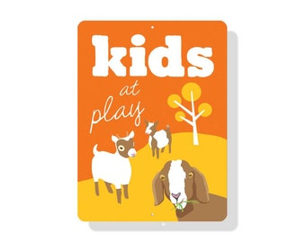 "Kids at Play Sign 9""x12"" (orange) SKU: SN912549"