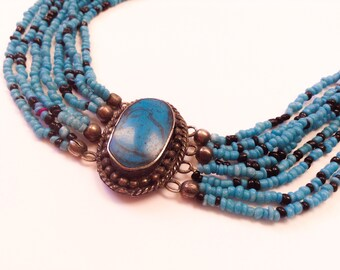 Vintage Silver and Turquoise Multistrand Beaded Choker Necklace, Boho Jewelry, Bohemian Jewelry