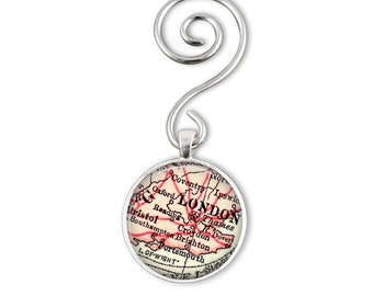 London Map Ornaments make great gifts for the Holidays, Christmas Ornament, London England Christmas Ornament, Personalized Gifts for Her