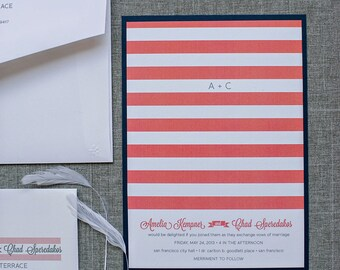 Coral and Navy Invitations, Coral and Navy Wedding, Wedding Invitation with Stripes, Nautical Invitations, Beach Wedding | Amelia & Chad