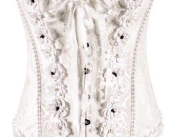 White Brocade Over Bust Corset
