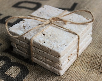 Plain Travertine Drink Coasters, Natural Absorbent Coasters, Blank Tumbled Stone Tiles