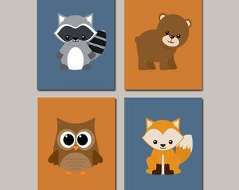 Woodland Wall Art, Boy Nursery Decor, Prints Or Canvas, Woodland Animals, Forest Animals, Fox Bear Owl Raccoon, Set of 4