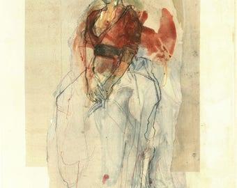 """Originalzeichnung, """"Hommage à Renoir XVII"""", Mischtechnik auf Papier, 49x35 cm"""