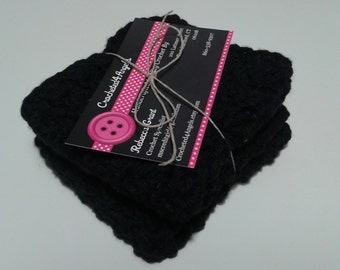Reusable Crocheted Cotton Dishcloths, Washcloths, Set of 2- Black