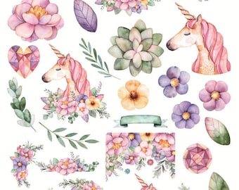 Uncut A5 Hand Drawn Unicorn Decorative Sticker ~  Beautiful Flowers Stickers, Scrapbooking, Diary Planner Album Stickers, Stationery, DIY