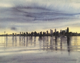 Seattle skyline, Seattle skyline print, Seattle print, west Seattle, puget sound, Seattle watercolor, Seattle Art, west Seattle print,