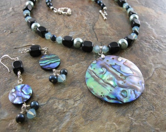 Abalone Jewelry Set - Abalone Pendant - Abalone Earrings - Shell Necklace Set - Freshwater Pearl Necklace - Freshwater Pearl Earrings