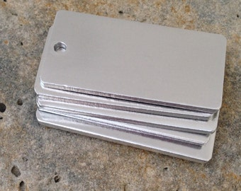 10 UK made 25x50mm aluminium metal chunky 2mm thick key ring / pendant blanks for hand stamping.