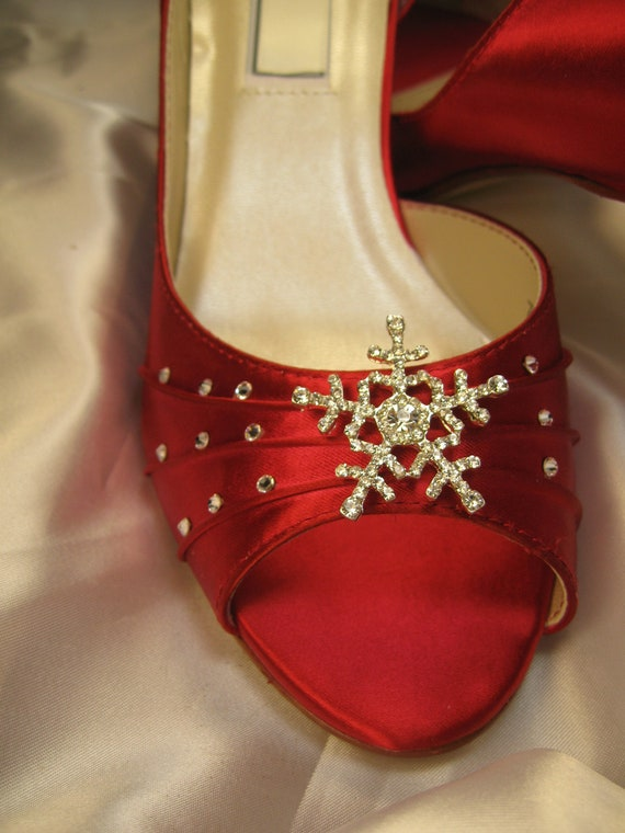 Winter Wedding Red Bridal Shoes With Crystal Snowflake Over 100 Custom Color Choices