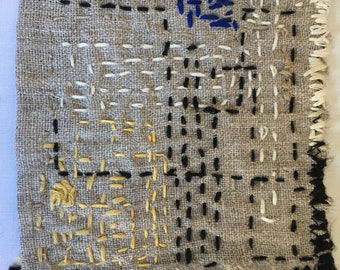 Boro Style Linen Patch C Sashiko Hand Embroidery for Clothing, Bags, Quilts, Story Art Up-cycling Clothing
