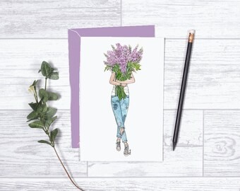 "Delphinium Blooms Card - Gifts for her - 4""x6"" - Individual - Love - There Aren't Enough Flowers to Express - Encouragement - Purple -Fleurs"