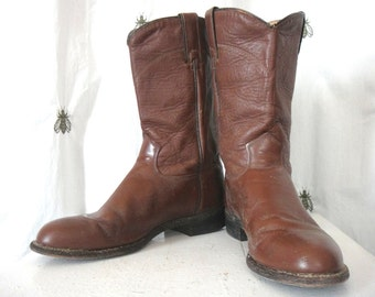 ON SALE! Vintage Women's Brown J. Chisolm Engineer Boots, Leather, Mid Calf, Size 7 1/2, 8