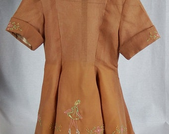 Beautiful Vintage 1960's Hand Made, Hand-Embroidered Child's Dress
