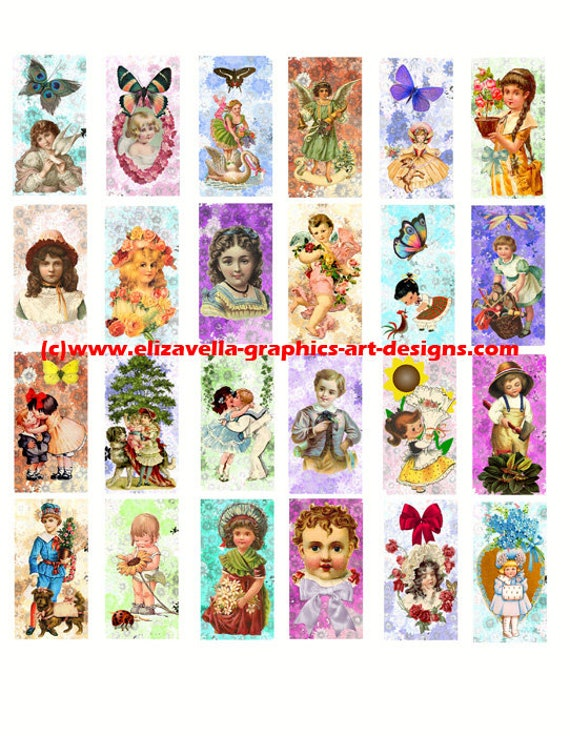 "victorian children flower butterflies spring domino collage sheet 1"" x 2"" inch clip art digital download graphics images printables pendants"