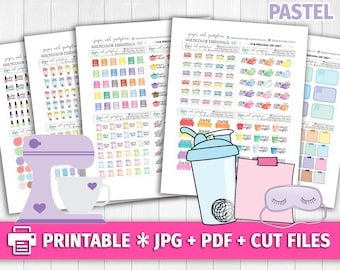 PASTEL Set 3 Multicolor Functional Deco/Printable Planner Stickers/for use with Erin Condren/Cutfiles/Summer Coffee Pink Cute