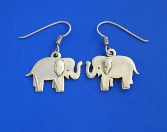 Silver Elephant Earrings , Hand Made Solid Silver , Silver Jewellery , Silver Jewelery