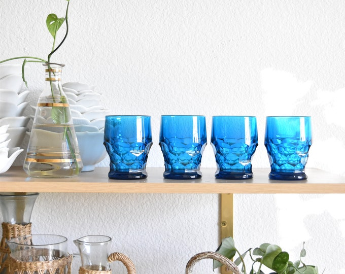 matching blue cocktail glasses / depression glass set of 4