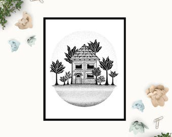 House Print, Beach House, Tropical Hut, Palm Tree House, Black and White Illustration, Pen and Ink, Home Gift, Wall Decor, Unframed Print