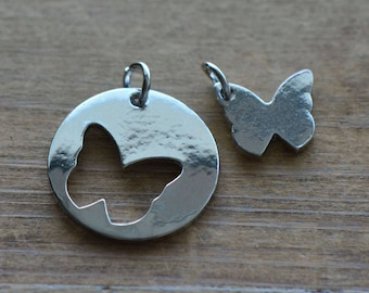 1 - 2-pc Butterfly Puzzle Disc Charm - Silver Toned Brass Layered Charm Minimal Jewelry Pendant (AS166) 50DFL3