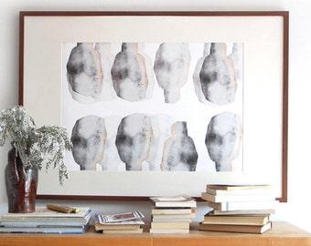 Grey Abstract Art Print, Modern Wall Art Composition, Human Abstraction, Cool Home Decor Artwork