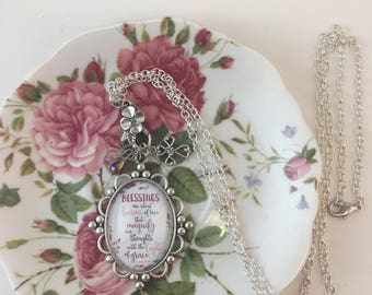 Handcrafted glass tile necklace/vintage style/Inspirational