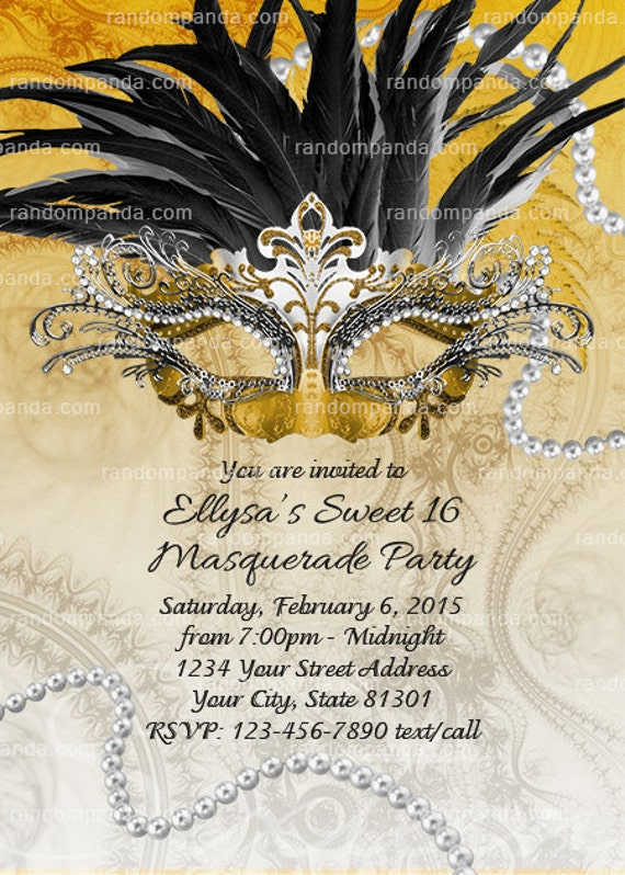 Masquerade Ball Invitation Black and Gold Sweet 16 Party