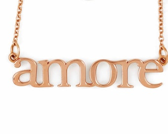 Amore Love Necklace / Amore! 14K Rose Gold, White Gold, and Yellow Gold Necklace / Love Necklace / Gifts for Her