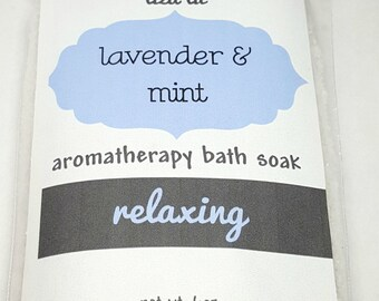 lavender mint bath salts, bath soak, aromatherapy, aroma-therapeutic, spa, gifts for her, relaxing, detox, mother's day gift