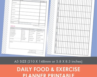 Daily Food & Exercise Planner Printable A5