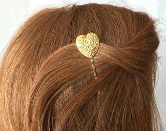Heart Hair Pins Large Heart Bobby Pins Etched Heart Hair Pins Vintage Style Flower Head Clips Bohemian Hair Piece Heart Hair Sticks Hairpin