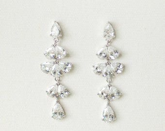 CZ Wedding Earrings, Bridal Earrings,  Crystal Wedding Earrings, CZ Drop Earrings, Wedding Jewelry